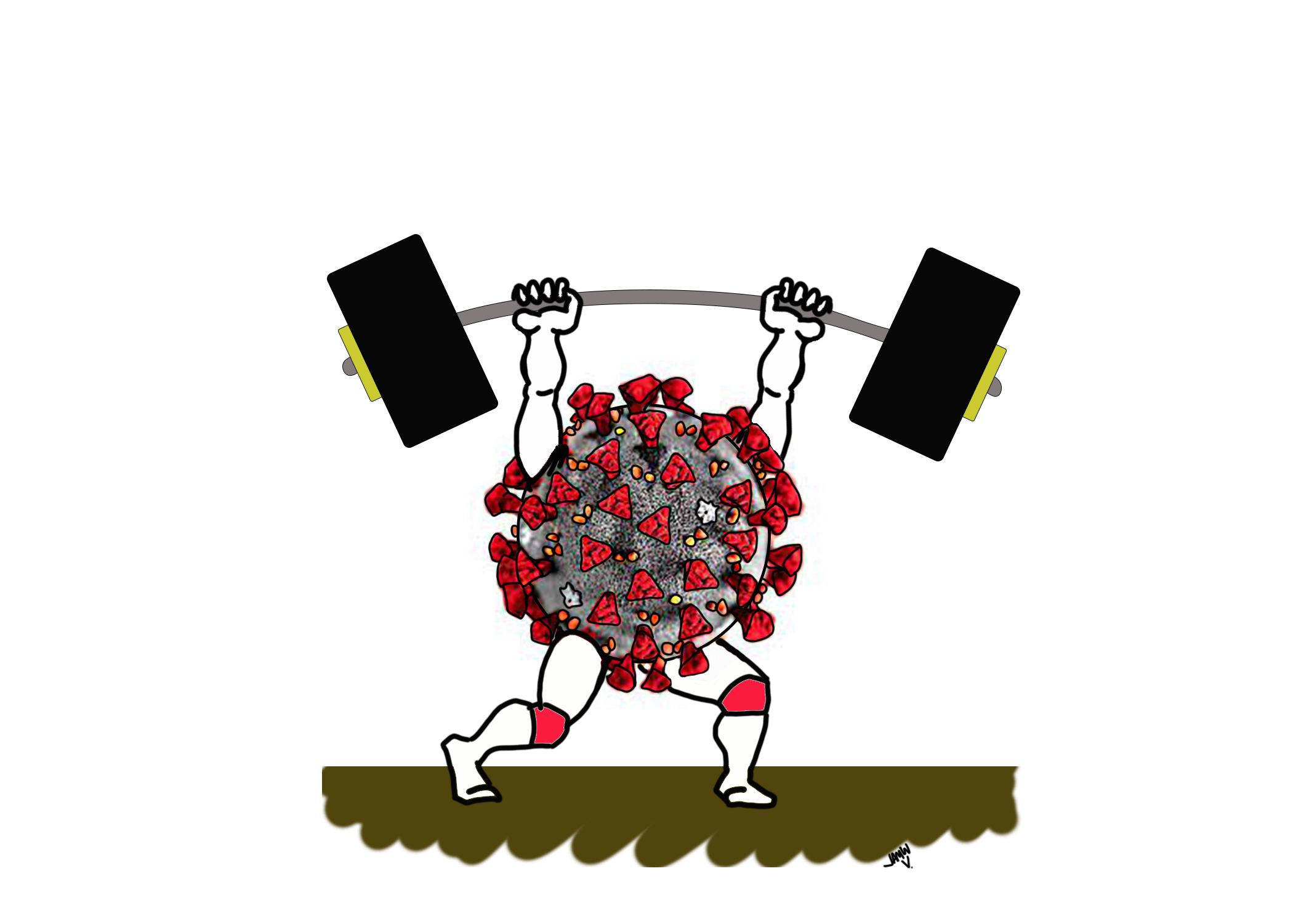 COVID virus and barbell